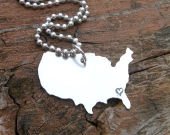 Personalized Hand stamped United States Necklace