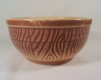 Vintage Bowl Yellow Ware  Ath-Tex Pottery Wood Grain  S201