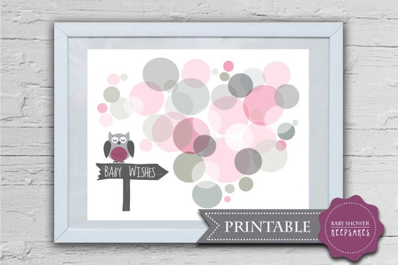 baby shower keepsake game printable nursery art owl and 25 30 wishes