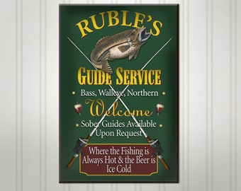 Personalized Fishing Sign, Green or Burgundy Lake Cabin Pub Sign, Custom Beer Sign, Personalized Sign, Personalized Man Cave Bar Decor
