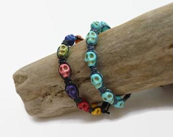 Multi coloured or Turquoise Skull Bracelet / Adjustable Knotted Bracelet / Friendship Bracelet / macrame bracelet