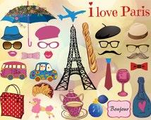Instant Download Paris Inspired Photo Booth Props Printable Paris Party Parisian Theme Photobooth Prop French Party C'est La Vie  0082