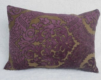 Pillow cover, 16x16 cushion cover purple, home decor pillow,  purple and light brown,  home decor fabric, throw pillow cover 16x16 inches
