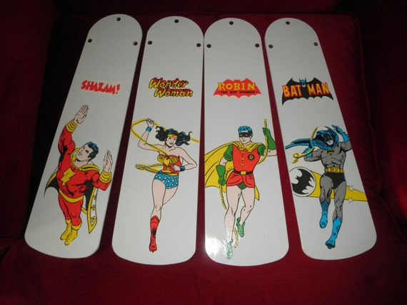 Custom Ceiling Fan Blades Super Hero Batman Robin Wonder