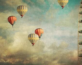 photo print, photography print, home decor, large size wall art, hot air balloons London Eye ferris wheel red yellow whimsical