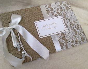 Rustic guest book - Lace and  Burlap guest book - Best bridal gift-Personalized guestbook