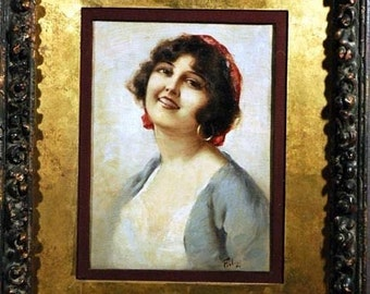 Beautiful Gypsy Woman O/C Painting She Captures You With Her Smile circa 1897