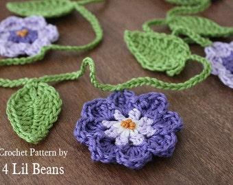 Crochet Pattern: Crochet Flower Garland, Home Decor, Crochet Bunting, Birthday Decor (Pattern 08) Instant DOWNLOAD