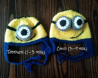 Knit Minion Inspired Hat, baby, toddler, child knit Hat, handmade earflap hat, knit yellow and blue hat, gifts for him, baby photo prop