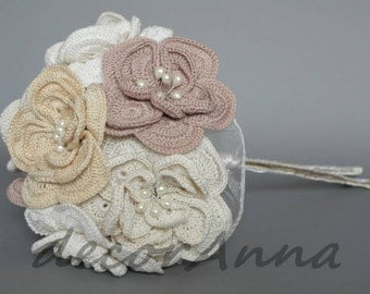 Wedding fabric bouquet - cappucino flowers