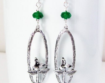 Emerald Green Agate Dangle Earrings Flower Earrings Silver Drop Earrings 925 Sterling Silver Earwires Gemstone Earrings