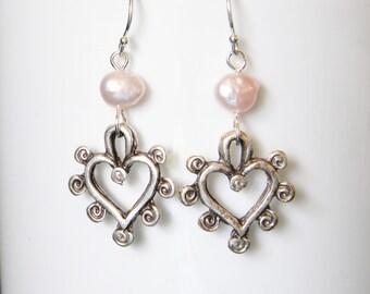 Pink Pearl Drop Earrings Silver Filigree Heart Earrings Heart Charms Freshwater Pearls