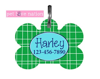 Personalized Pet Tag, Dog Tag, ID Tag, Blue And Green Pet Tag With Name And Phone Number, Identification Tag