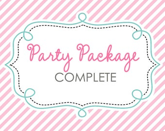 Party Package (COMPLETE) - Invitation, Banner, Thank You Card, Party Circle, etc