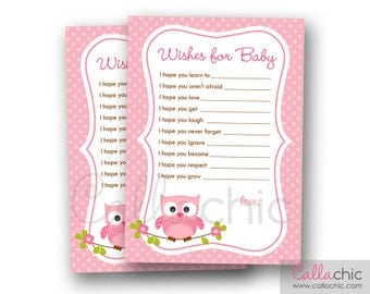 Owl Wishes for Baby Girl PRINTABLE (Pink Owl with Polka Dot Backround) 5x7 - INSTANT DOWNLOAD