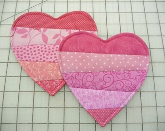 Heart Mug Rugs  - Coasters - Set of Two