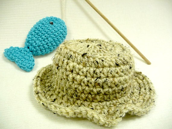 Baby fishing hat and fish photo prop baby hat by for Baby fishing hat