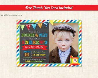 Bounce House Photo Birthday Invitations - Pump It Up Photo Birthday Party Invitations- Boy Photo Birthday Invitations - Digital or Prined