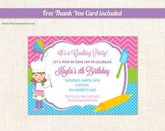 Baking Party Invitations - Cooking Party Invitations - Chef Kids Invitations - Girl Birthday Invitations - Printable