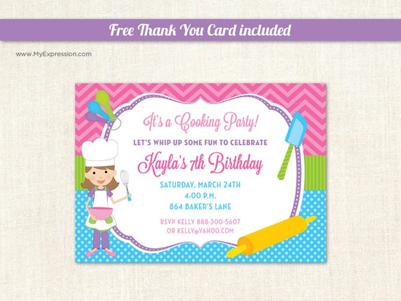 Baking Party Invitations Cooking Party Invitations Chef – Free Kids Party Invitations to Print