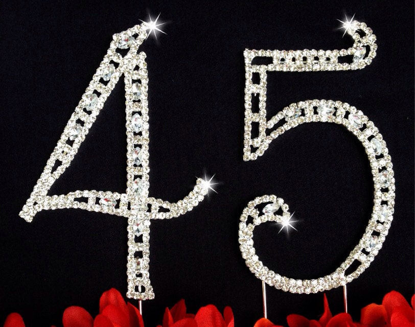 45th Birthday Wedding Anniversary Number Cake Topper Large