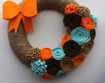 Flower Wreath with Bowtie for Door Ornament (with tracking number)