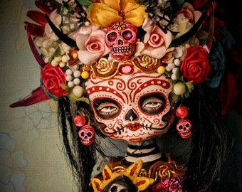 Beautiful Mortal Dia De Los Muertos Dark Tattooed Princess Doll canon PRINT 411 Reproduction by Michael Brown