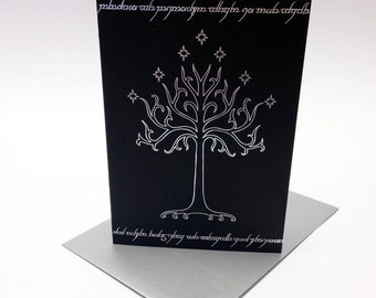 Lord of the Rings inspired greeting card, decorated with foil Tree Of Gondor and Elvish characters, Tolkien. Size A6.