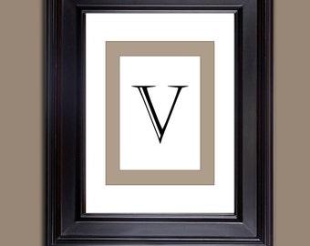 Monogram Prints - Letter Prints - Download only - Letter V  10 x 8 and 11 x 14