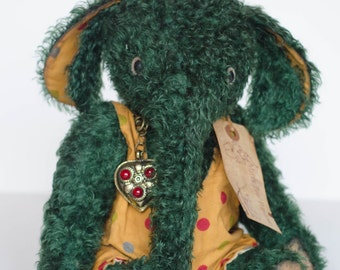 Green Mohair Elephant
