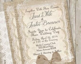 Burlap and Lace Wedding Invitation, Rustic, Shabby Chic, Printable, Invite, Digital File, Personalized, 5x7,