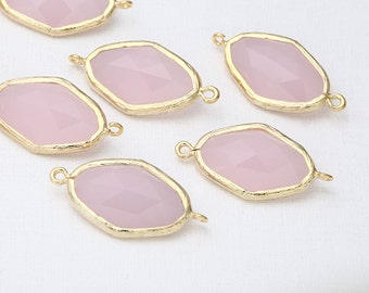 Clearance 35% - IcePink Glass Connector Polished Gold -Plated - 2 Pieces <G0045-PGIP>_Regular price 5.40