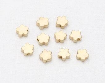 6mm Flower Brass Pendant Matte Gold-Plated - 4 Pieces [SA0007-MG]