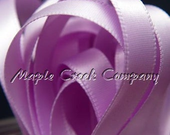 "Orchid Double Face Satin Ribbon, 5 Widths Available: 1-1/2"", 7/8"", 5/8"", 3/8"", 1/4"""