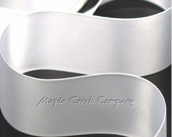 "5 yards of White Double Face Satin Ribbon, 5 Widths Available: 1-1/2"", 7/8"", 5/8"", 3/8"", 1/4"""