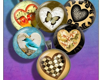 Hearts - One Inch Round Digital Collage sheet for  Pendants, Magnets, Bottle Caps, Paper Crafts