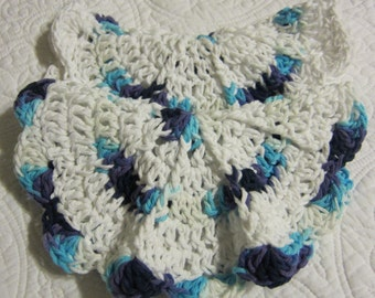 Crochet Dishcloth/Washcloth Multi Color and White Set of 2 100% Cotton Round with Scalloped Edges
