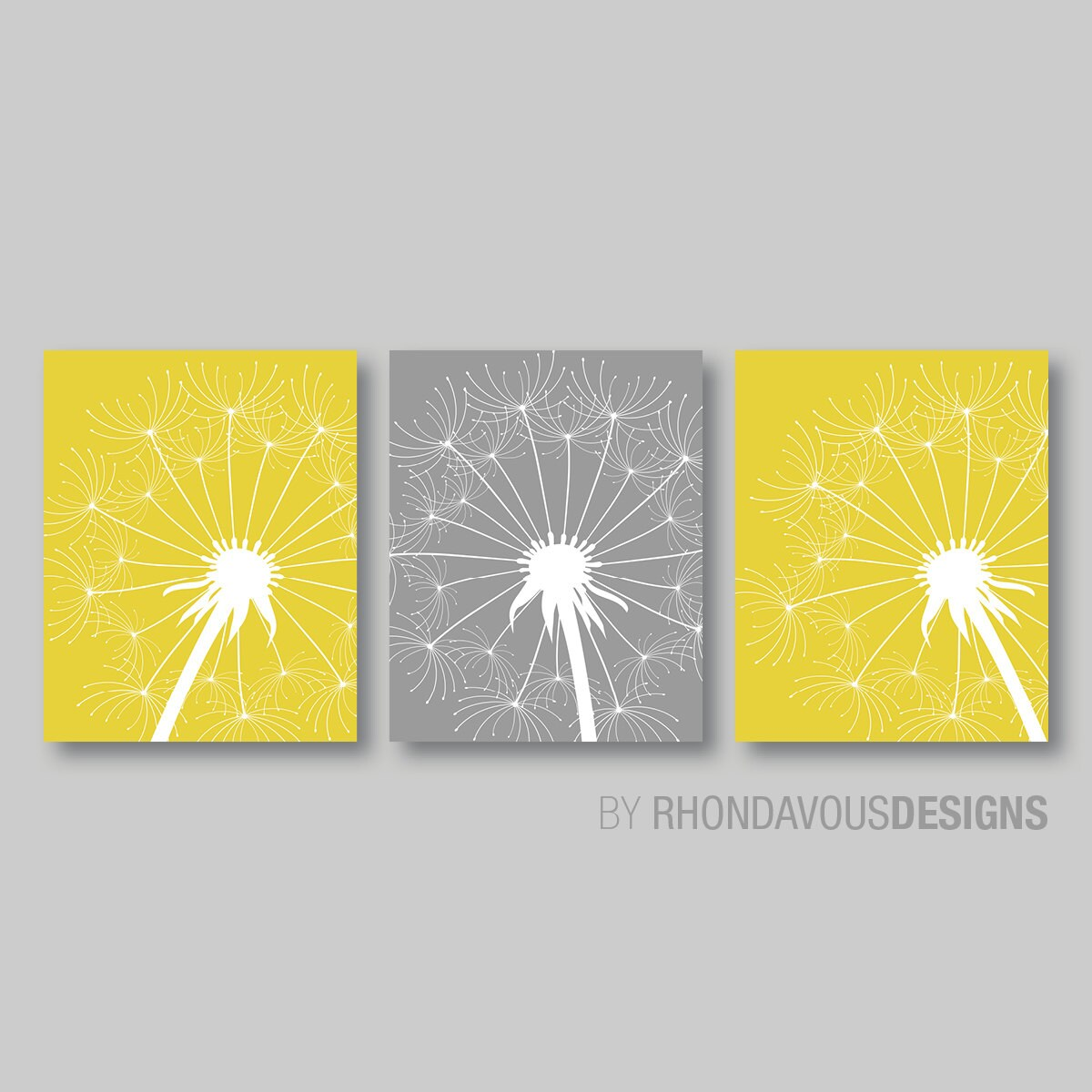 Dandelion Flower Print Trio. Home Bathroom Decor Nursery. Mustard ...