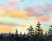 "Appalachian Sunset - ORIGINAL WATERCOLOR - Painting by Linda Henry - Miniature Watercolor - 5""x7"" - Ready to Frame - Free White Mat (#266)"