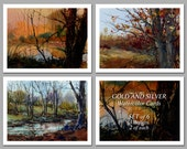 Gold and Silver -  Set of 6 NOTE CARDS - Watercolor Paintings by Linda Henry (NCWC066)
