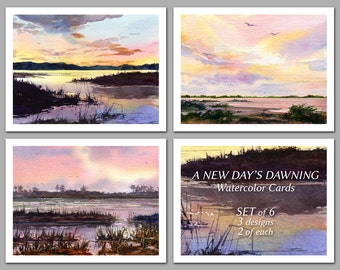 A New Day's Dawning -  Set of 6 NOTE CARDS - Watercolor Paintings by Linda Henry (NCWC032)