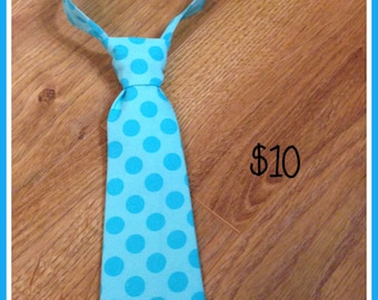 Blue Polka Dot Handmade Little Boy Neck Tie / necktie