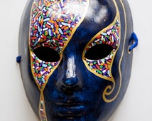 Blue masquerade mask men and women. Venetian carnival, costume party, carnivale. Mardi Gras, halloween masks. Full face paper mache painted
