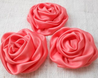 "Coral Satin Rolled Flowers - 2.9"" Satin Flowers ,Satin Fabric Flowers, use in DIY craft for baby,children accessories"