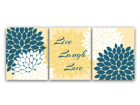 Home Decor Wall Art Live Laugh Love Yellow And By