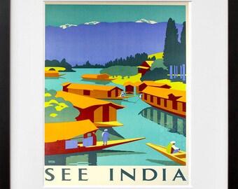 Travel Poster India Art Print Retro (TR120)