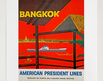 Art Thailand Poster Travel Print Bangkok Vintage Thai Home Decor (ZT109)