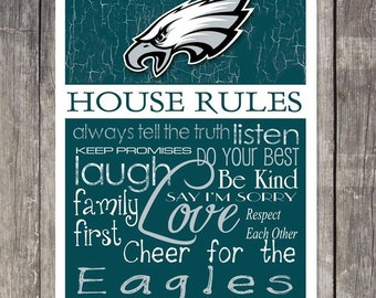 PHILADELPHIA EAGLES House Rules Art Print     ***4 Sizes To Choose From***