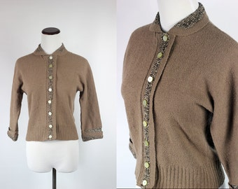 1940s Fine Wool Chenille Knit Tan Sweater -- Sz Sm