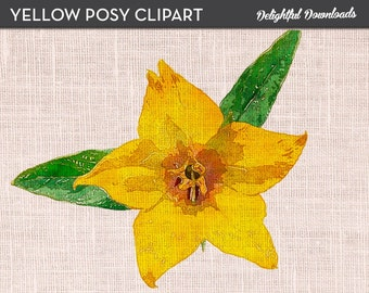 """Flower Clip Art """"YELLOW POSY"""" for Digital Collage or Iron-on Transfer"""